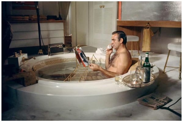 Sean Connery in the bath, Las Vegas (colour), 1970