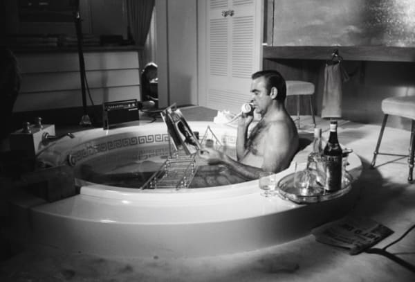 Sean Connery in the bath, Las Vegas (B&W), 1970