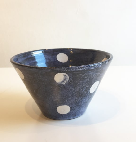 Tydd Pottery, White Spots On Blue, Small V-Shaped Bowl