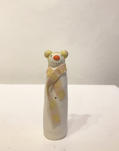 Clare Nicholls, Snowman with Yellow and Pink Bobble Hat