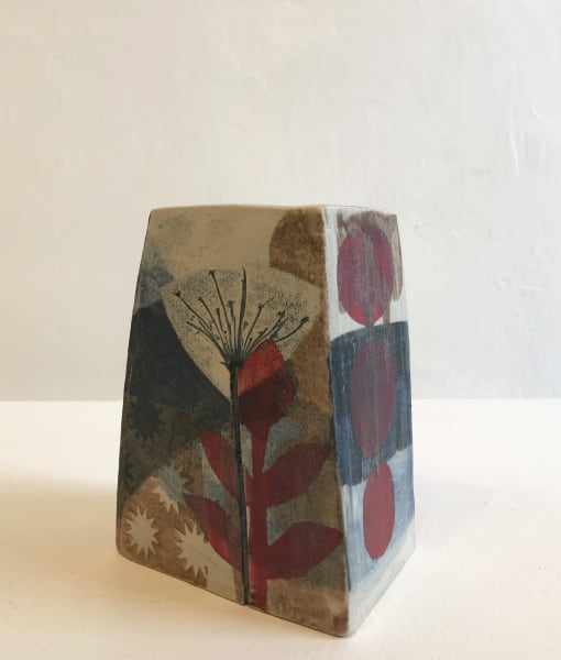 Small, Square Vase in Red and Blue with Star-shaped flowers