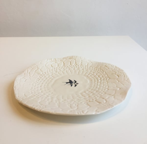 White Plate with Lace Imprint Pattern