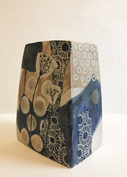 Large, Square Vase in Blue