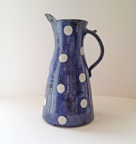 Tydd Pottery, Jug - Spots, White Spots on Blue, Tall , 2019
