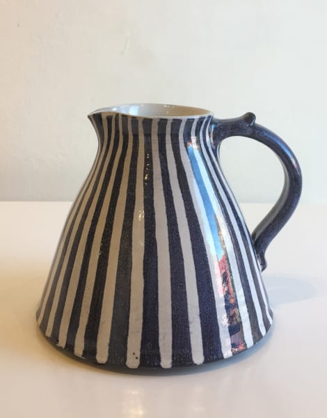 Tydd Pottery, Jug - Blue and white narrow stripes - Medium