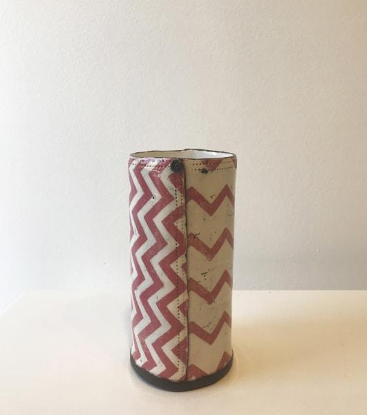 Pink Chevron, Cylindrical Vase