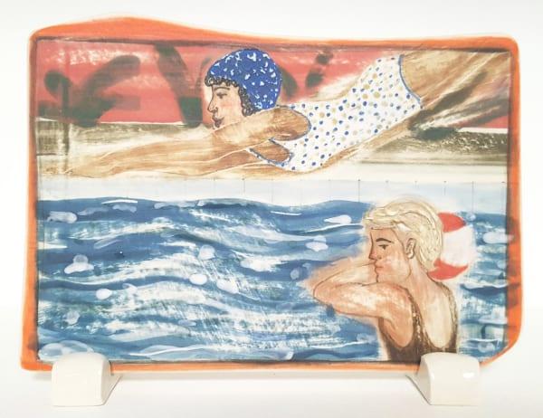 Clare Nicholls, Plunge (Blue Swimming Cap), 2020