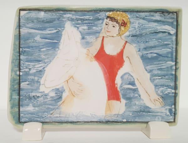 Clare Nicholls, Seaside Fun (Red Swimsuit), 2020