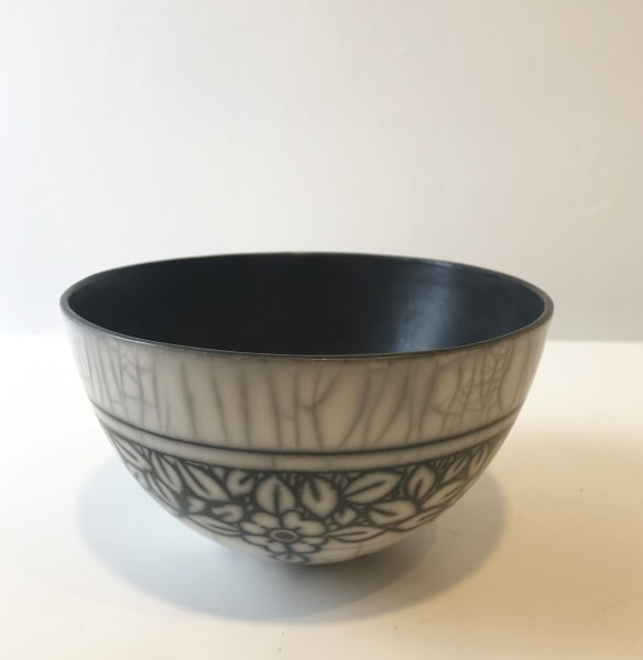 Debbie Barber, White Flowers, Medium Bowl