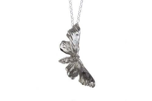 Lucy Jade Sylvester, Silver Midnight Hawkmoth Necklace, Long chain