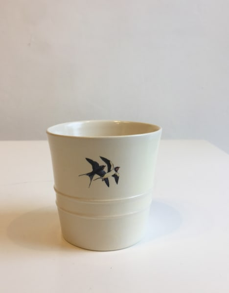 Fliff Carr, White Cup with 2 Swallows, 2018