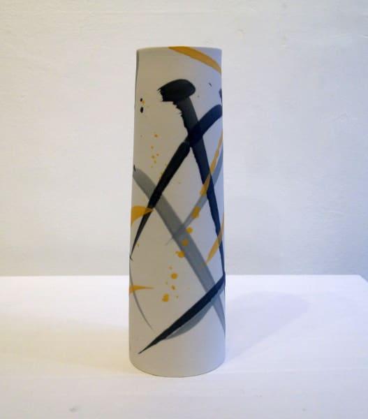 Large Vase - Mustard & Grey
