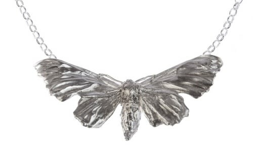 Silver Hawk Moth Pendant, Short chain