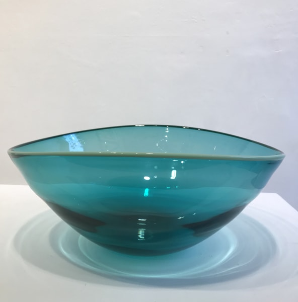 Extra Large Spruce Green Bowl with mint green rim