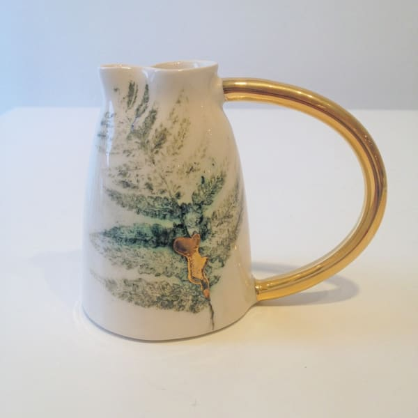 Fern Jug with Gold Handle