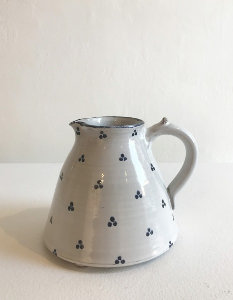 Tydd Pottery, Blue Tri-Spots on White, Medium Jug