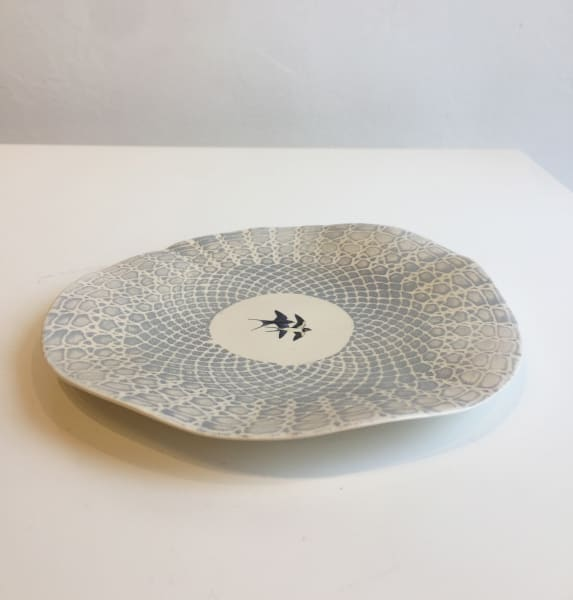 Blue Plate with White Lace Pattern