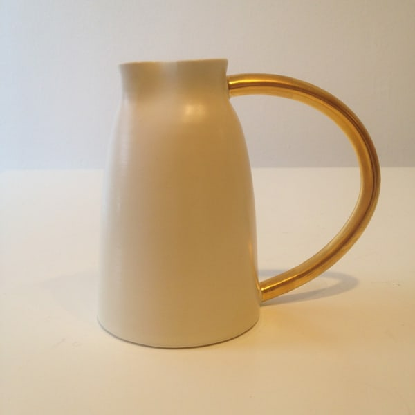 White Jug with Gold Handle