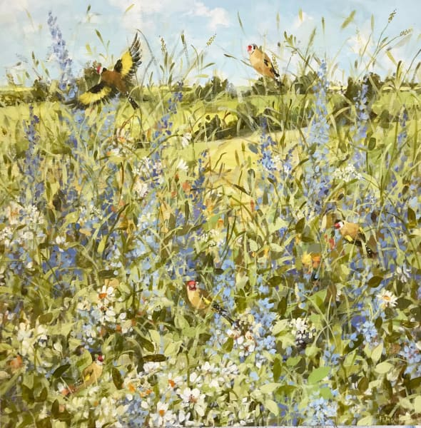 Fletcher Prentice, Goldfinches and Summer Flowers, 2019