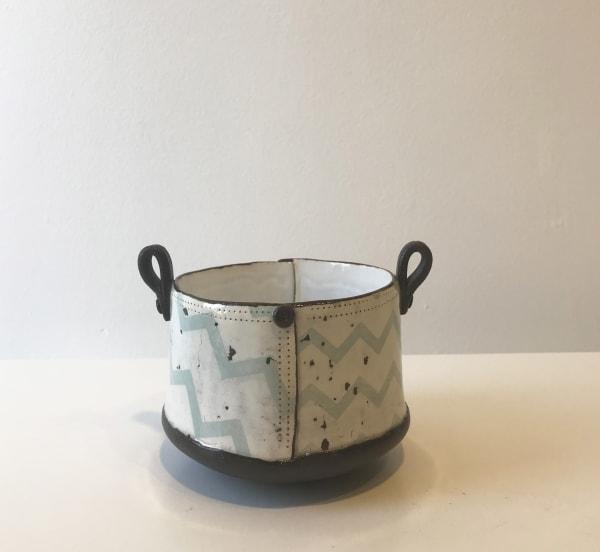Pale Blue Chevron, Tub Pot