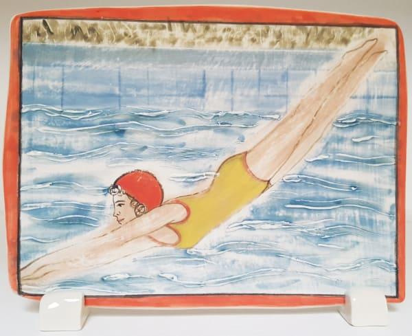 Clare Nicholls, Plunge (Red Swimming Cap), 2020