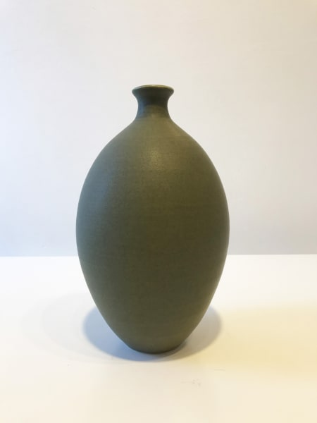 Olive Green Oval Vessel, Tall
