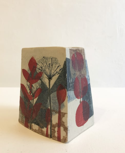Small, Square Vase in Red and Blue