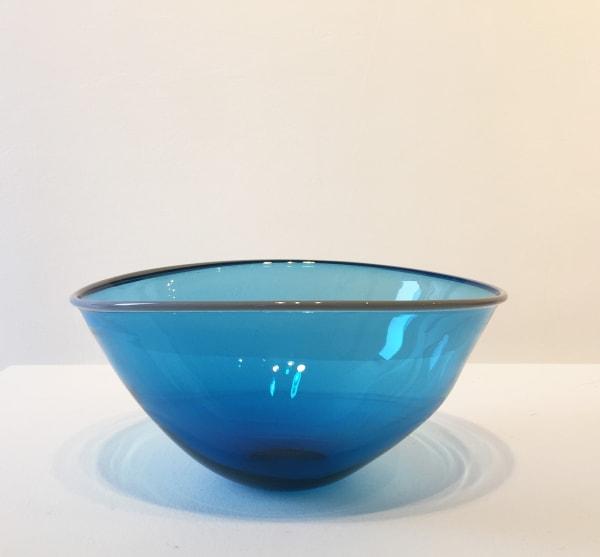 Medium Blue Bowl with grey rim