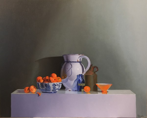Robert Walker, Blue Glass Bottle with Clementines