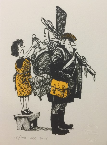 J P Reynolds (Unframed), Thelwell's Well-equipped Angler, 2016