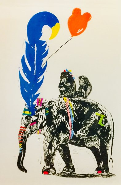 Millie McCallum, Elephant with Blue & Yellow Feather