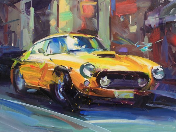 Paul Wright, Yellow Ferrari (Limited Edition Print)