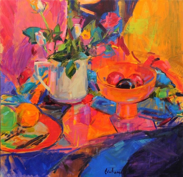 Peter Graham ROI, Still Life with Bloomingdales's Bowl