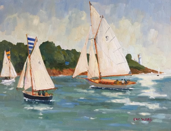 Eric Ward (b.1945), Yachts sailing in the River fal off St Anthony light
