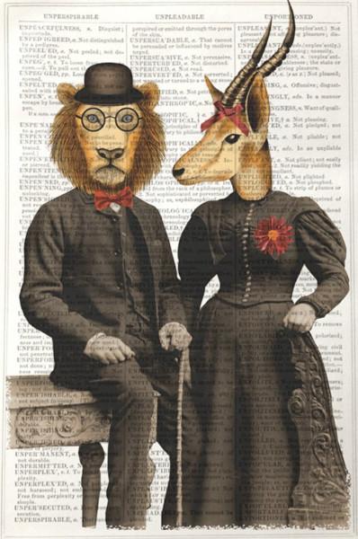 Unframed Prints, Lion and Gazelle