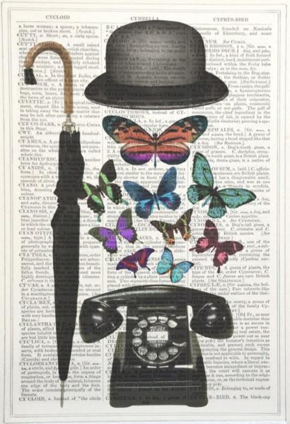 Unframed Prints, Bowler Hat/ Telephone