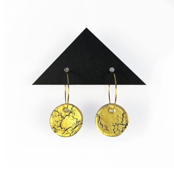 Geometric Glass Circle Hoop Earrings - Gold Crackle + Blue