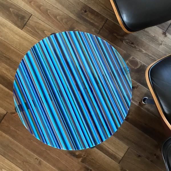 Romy Randev, Blue Striped Table 1, 2017