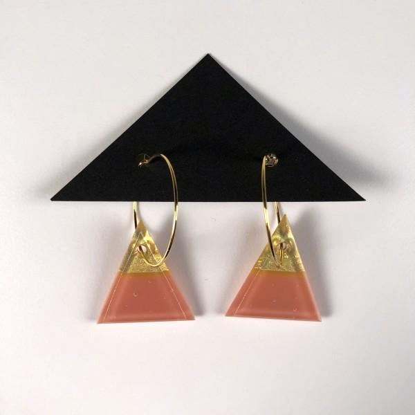 Geometric Glass Triangle Hoop Earrings - Salmon Pink + Gold