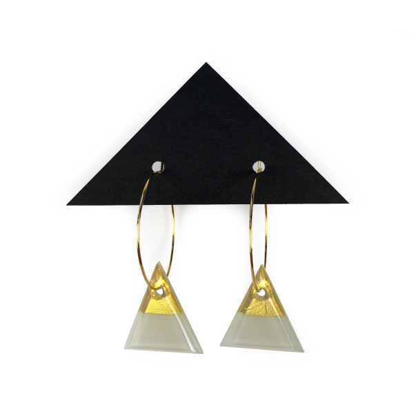 Geometric Glass Triangle Hoop Earrings - Driftwood Gray + Gold