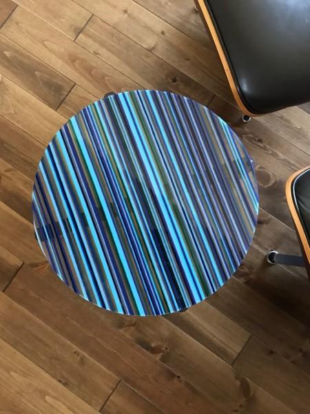 Romy Randev, Blue Striped Table 2, 2018