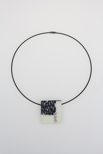 Black and Slashed Rectangle Pendant