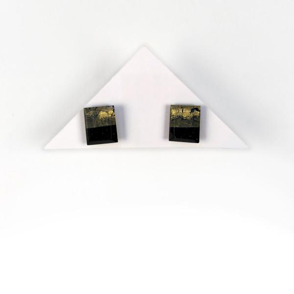 Geometric Glass Post Earrings - Black + Gold