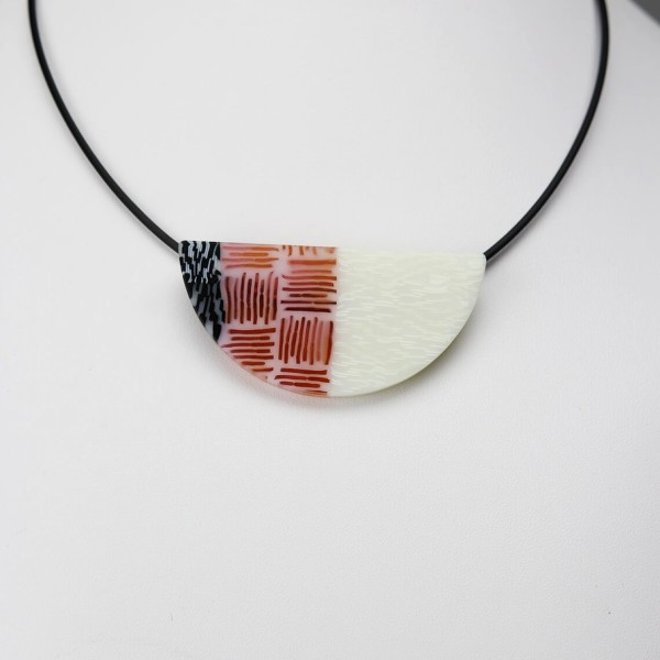 Red, White, and Black Wedge Pendant
