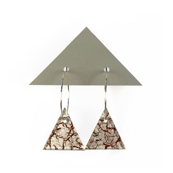 Geometric Glass Triangle Hoop Earrings - Silver Crackle + Fuchsia