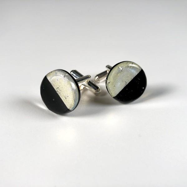 Geometric Glass Cufflinks - Black + Silver
