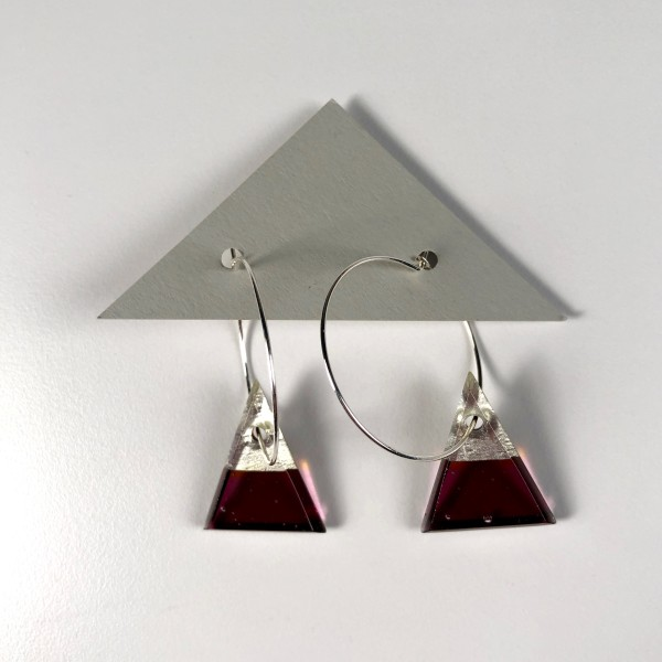 Geometric Glass Triangle Hoop Earrings - Fuchsia + Silver