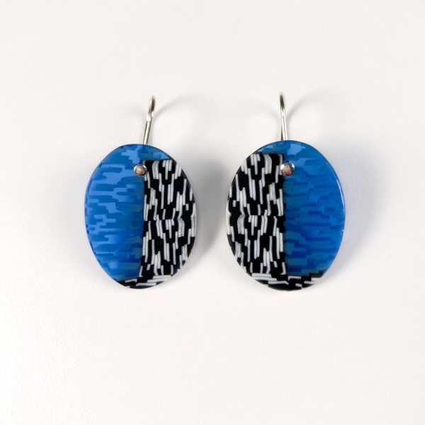 Blue, Black, and White Earrings