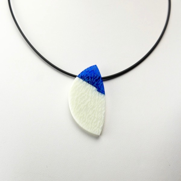 Blue and White Slice Pendant Necklace