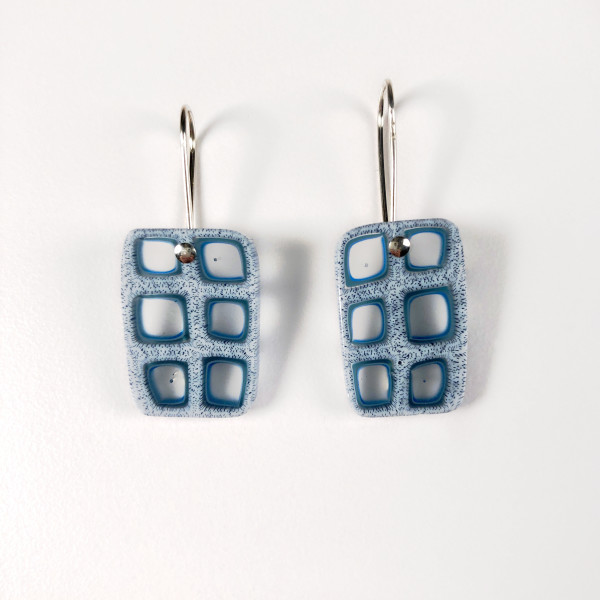 Blue Rectangle Earrings